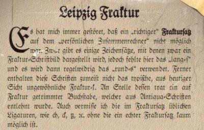 Schriftart Leipzig Fraktur