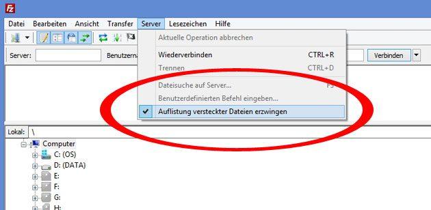 .htaccess Datei in Filezilla anzeigen lassen