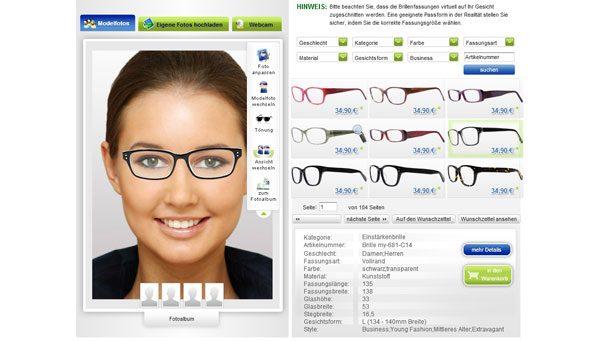 Brillen virtuell anprobieren