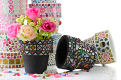 Küche dekorieren - Blumentopf bekleben