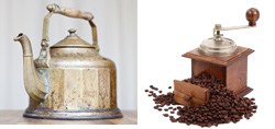 Küche dekorieren mit Wasserkessen und Kaffeemühle