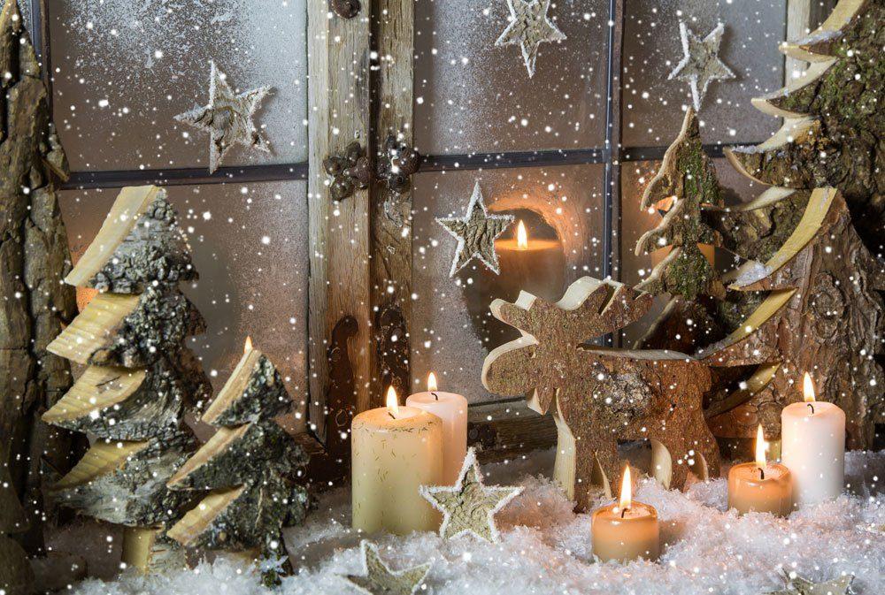 Weihnachten Deko Holz Rentier Sterne rustikal