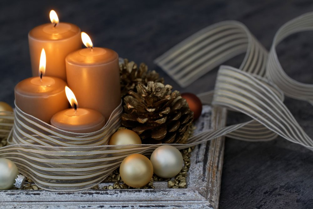 Advent Deko Schleifenband Kerzen