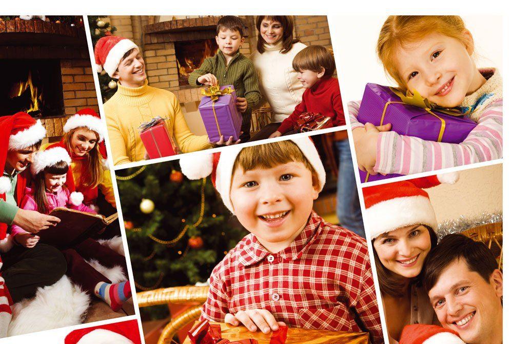 Collage, Familie, Weihnachten, Weihnachtskarte